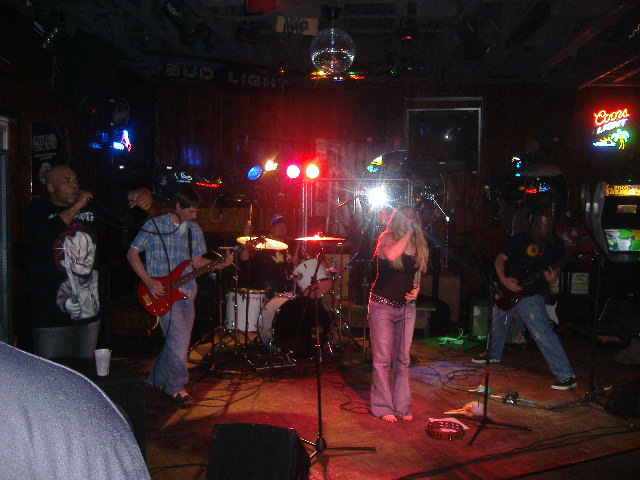 The first band I saw coming in was Semiblind. They had a guest singer, DJ Stash out of Cambridge (far left).