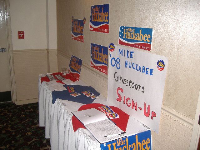 Mike Huckabee had a few people wearing his items that were on display here.