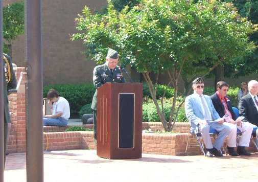 Ed Tattersall reading the names of Wicomico County veterans killed in action since World War I.
