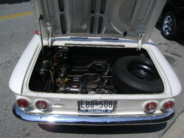 One of the rare rear-engine vehicles Detroit put out, here's the powerplant of a 1963 Chevy Corvair.