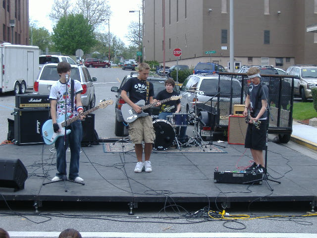 The four-piece band Losing 76 was among the entertainers on the Court Street Stage.