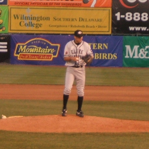 Brad Bergesen of the Shorebirds pitching in a replica Negro League Baltimore Elite Giants uniform.