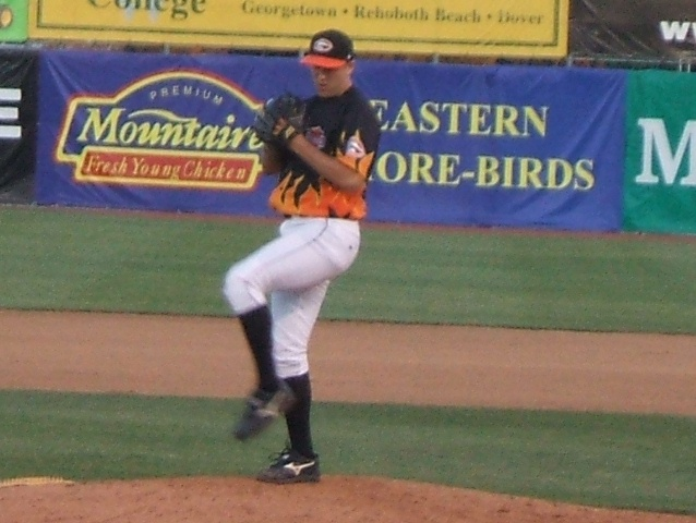 This photo from last June shows Brad Bergesen in a flaming Harley uniform. On Sunday he was just that hot in securing Delmarva's first win of 2007.