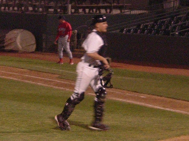 In this photo from May of 2006, Brandon Snyder models some items he'll not be wearing much this season - catcher's equipment.